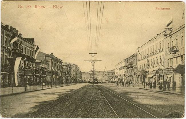 Трамвай на Крещатике в начале 20 века