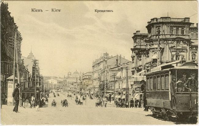 Трамвай на Старом Крещатике, начало века