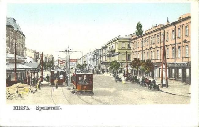 Рамвай на Крещатике в начале 20 века