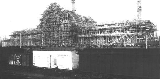 Как строили здание вокзала в 1927 году в Киеве, черно-белое фото