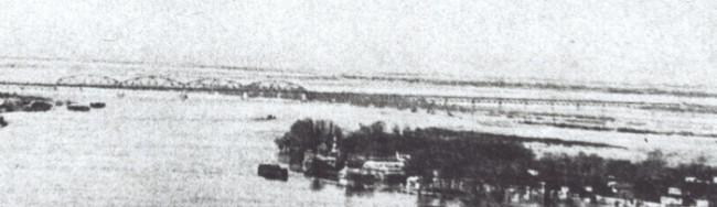 1937 год. Петровский мост во время разлива Днепра