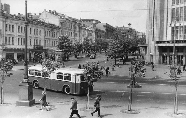Крещатик, Центральный универмаг, троллейбус, 1947 год