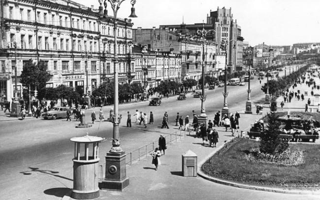 Крещатик у Бессарабки в 1948 году
