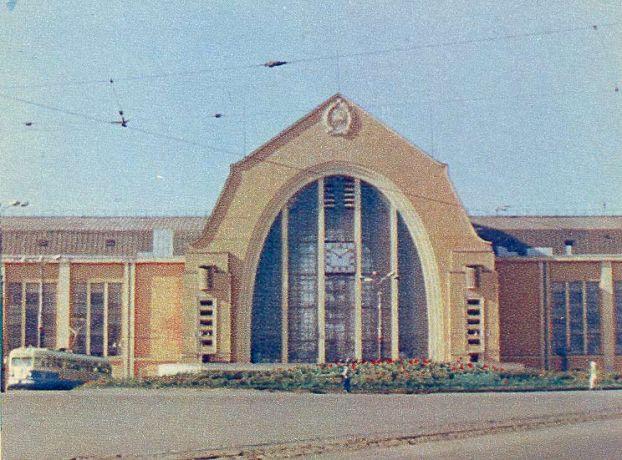 После войны здание вокзала было восстановлено, 1949 год