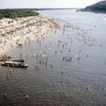 Днепр, Труханов остров, пляж, 50-е годы, Киев