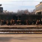 Перрон вокзала в 1981 году