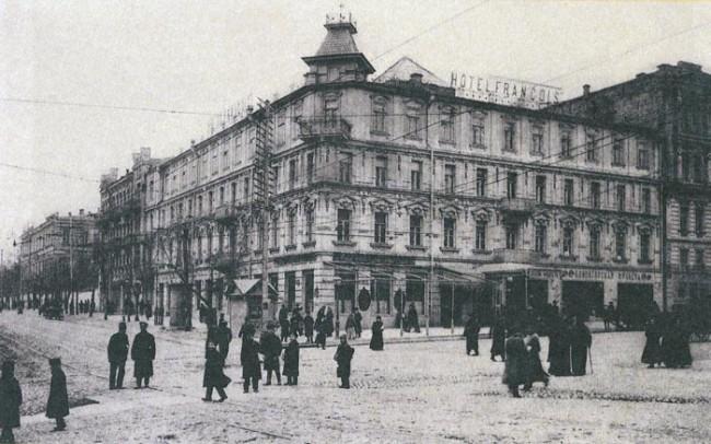 Гостиница Франсуа на углу Фундуклеевской и Большой Владимирской улиц в начале 20 века