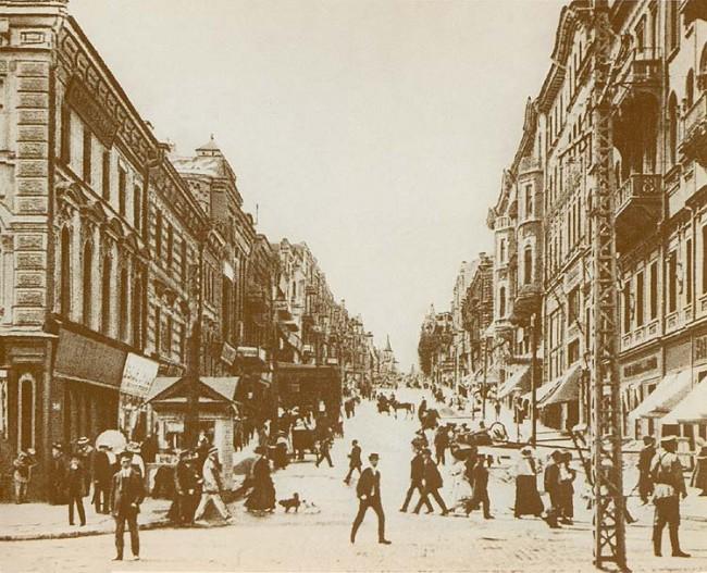 Крещатик и улица Прорезная в начале 20 века