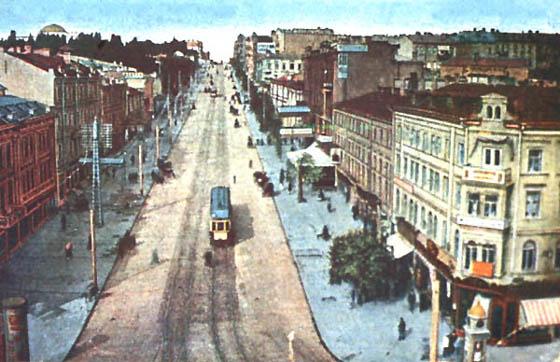 Вид на Фундуклеевскую улицу с Крещатика, начало 20 века