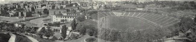 Панорама Республиканского стадиона и окрестностей в 1957 году