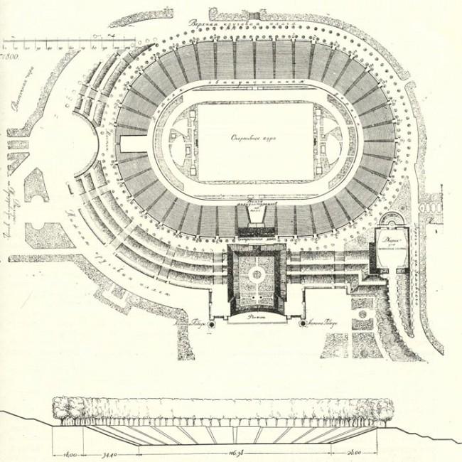 План Республиканского стадиона 1957 года