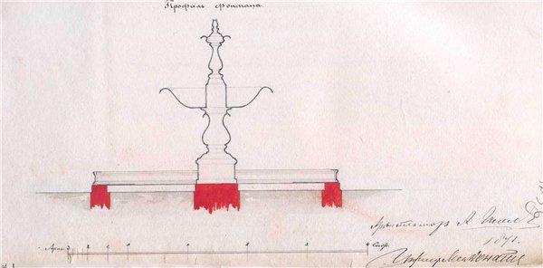 Профиль фонтана, чертеж, начало 20 века