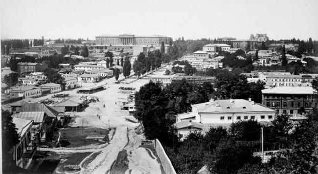 Бульвар Шевченко в далеком 1860 году. Университет, Владимирский собор и Бесарабская площадь