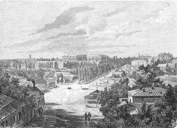 Еще до постройки Бессарабского рынка. Бульвар Шевченко в 1870 году