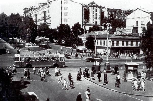 Бульвар Шевченко и Бессарабская площадь в 1950 году