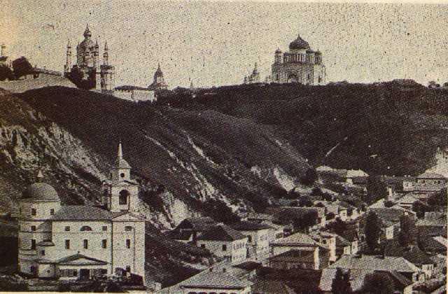 Крестовозвиженская церковь на Подоле в начале 20 века, черно-белое фото