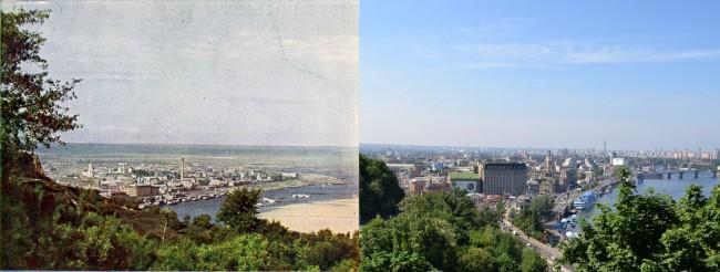Сравнение старого и нового Киева на примере Подола, 1905 год против 2011 года