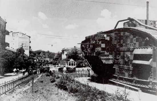 Вид на Музейный переулок от танка Марк пять