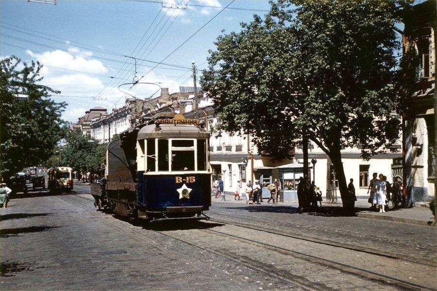 Трамвайные пути на улице Сагайдачного в 1959 году