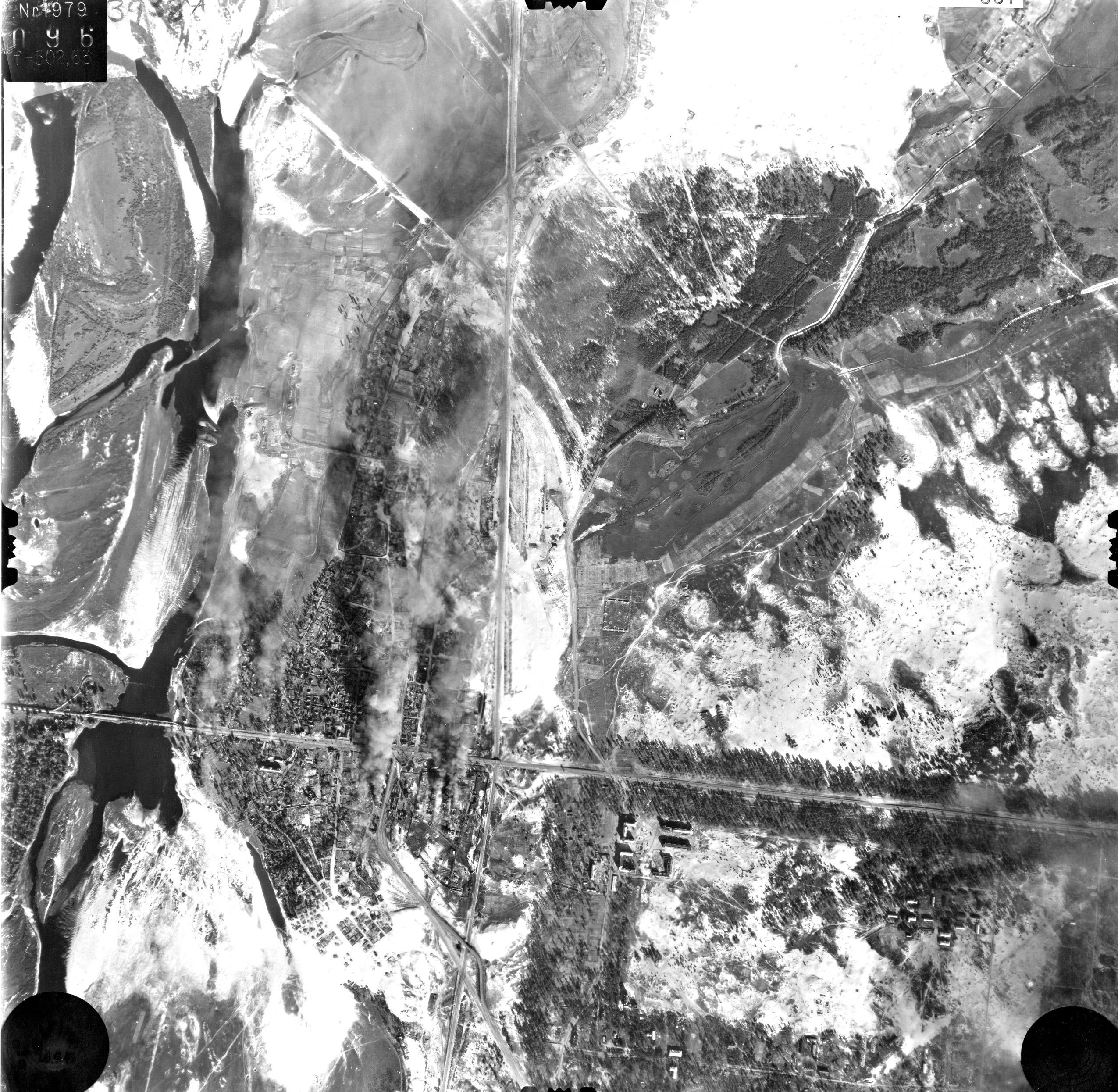 Снимки Киева немецкой авиацией с воздуха 1943 года, пожары