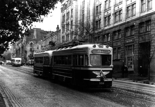 Трамвай, улица Коминтерна, Киев, 60-е годы