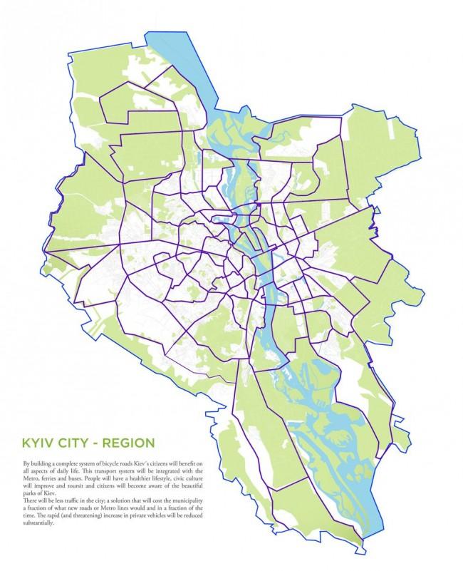Как выстроить систему велосипедных дорог в Киеве, проект