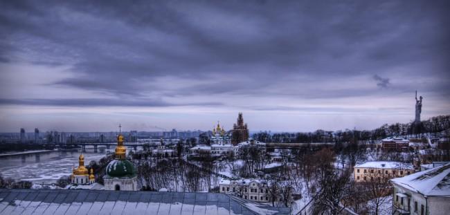 Вид на Киев зимой