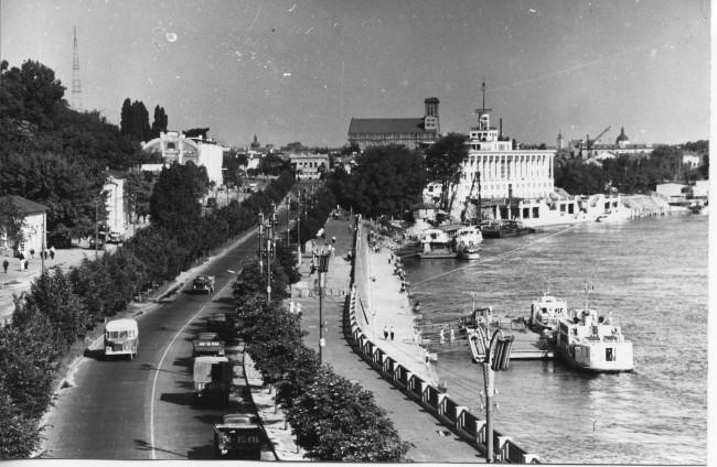 Набережное шоссе в 1955 году, Киев, Днепр