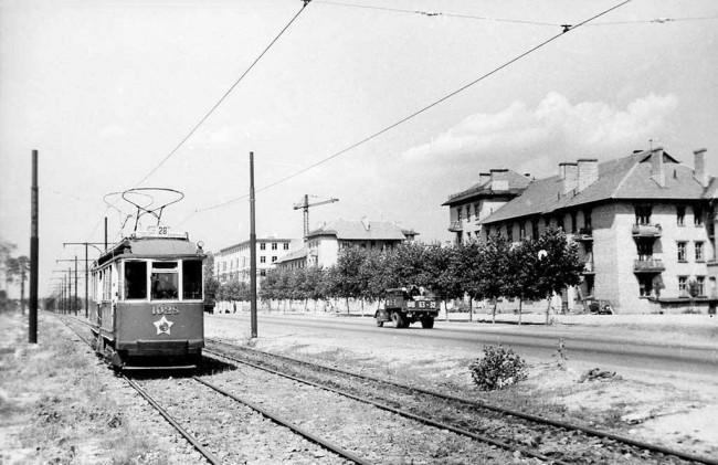 Проспект Гагарина (бывшая улица Диагональная) в 1956 году