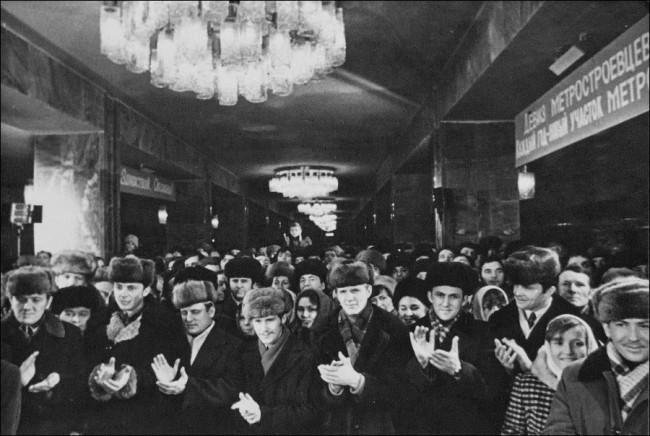 Митинг в честь открытия станции метро Тараса Шевченко в 1980 году