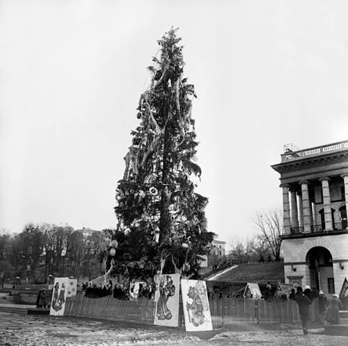 1981 год. Новогодняя елка на Майдане (площади Октябрьской Революции) рядом со зданием консерватории