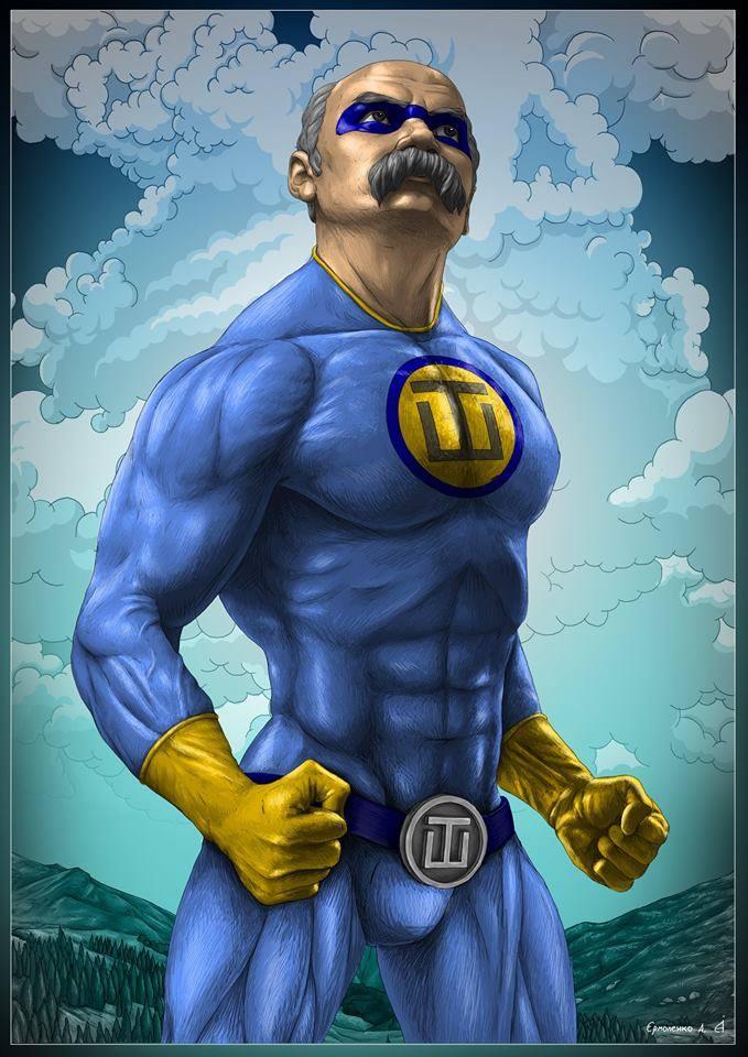 Тарас Шевченко в образе супермена, рисунок художника Андрея Ермоленко