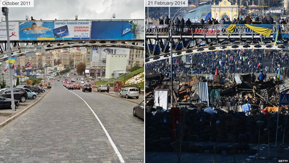 Киев до и во время Майдана 2014 - Институтская улица