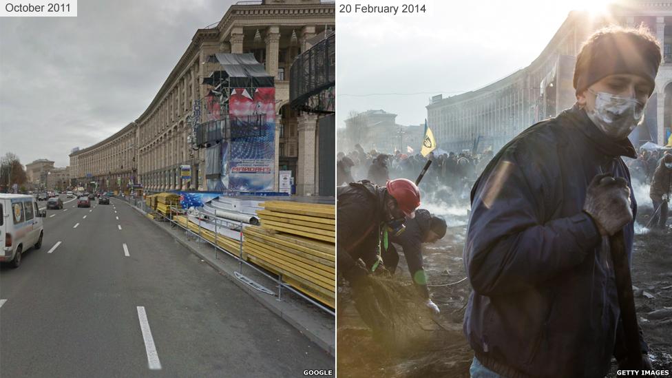 Киев до и во время Майдана 2014 - Крещатик и Главпочтамт