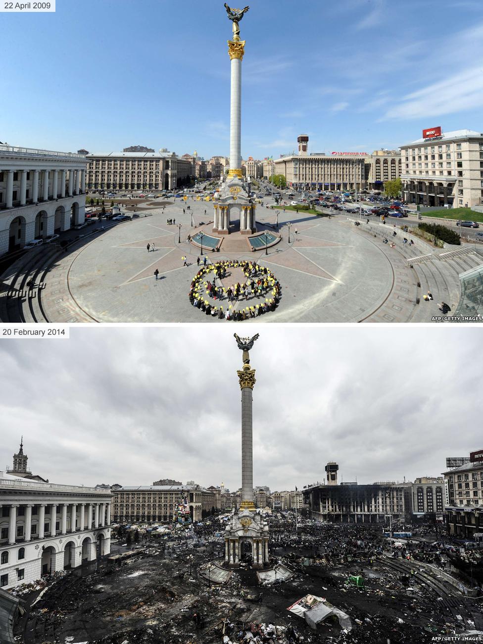 Киев до и во время Майдана 2014 - площадь Независимости