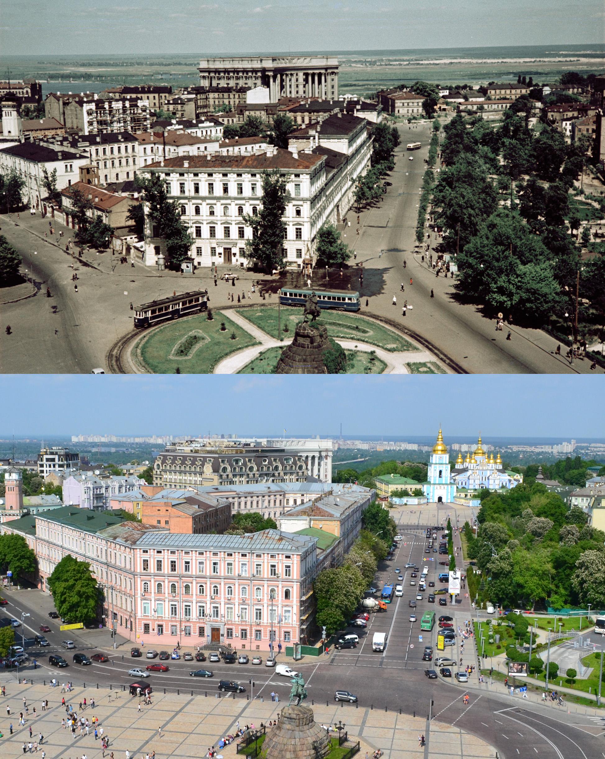 Софийская площадь (площадь Богдана Хмельницкого) в 50-х годах и в наше время