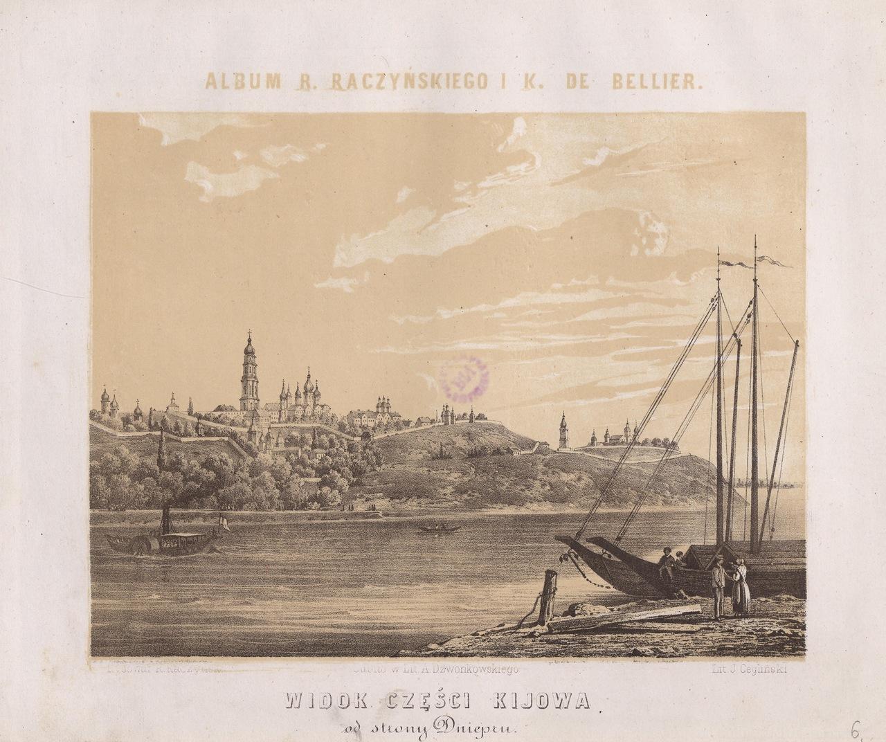1861 год. Вид на Правый берег Днепра на гравюре