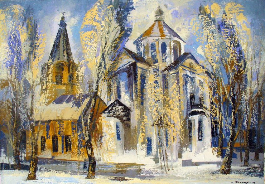 Киев в живописи Валерий Франчук картина Зимний Подол
