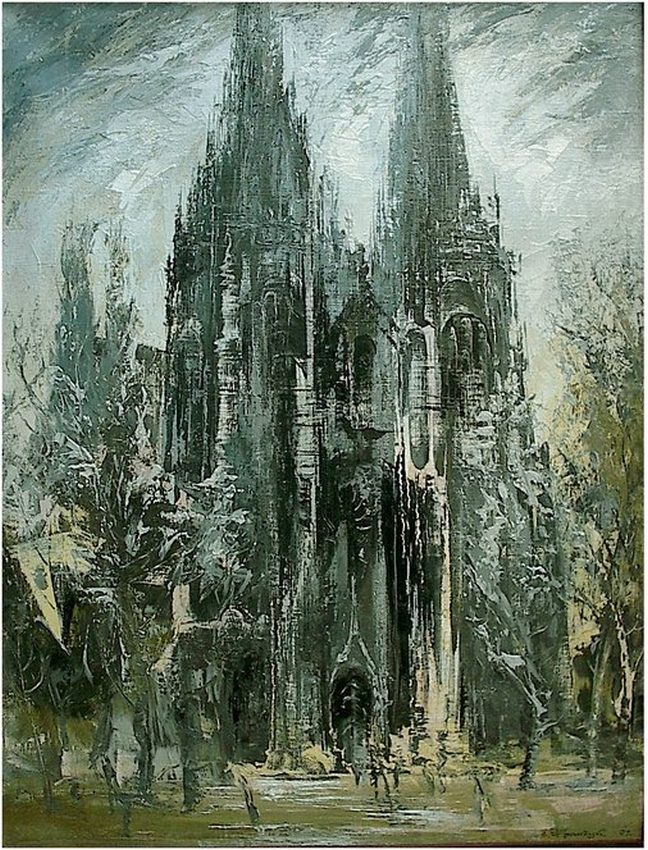 Киев в живописи Валерий Франчук картина Николаевский костел