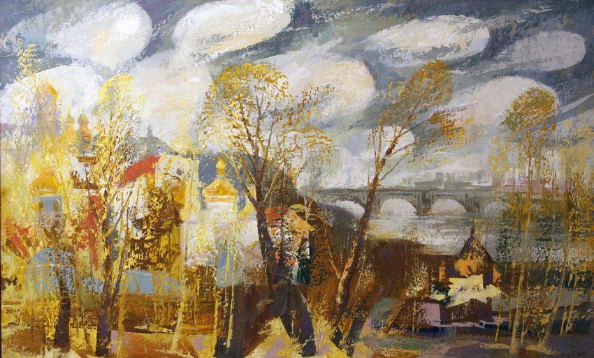 Киев в живописи Валерий Франчук картина Феодосиевы пещеры