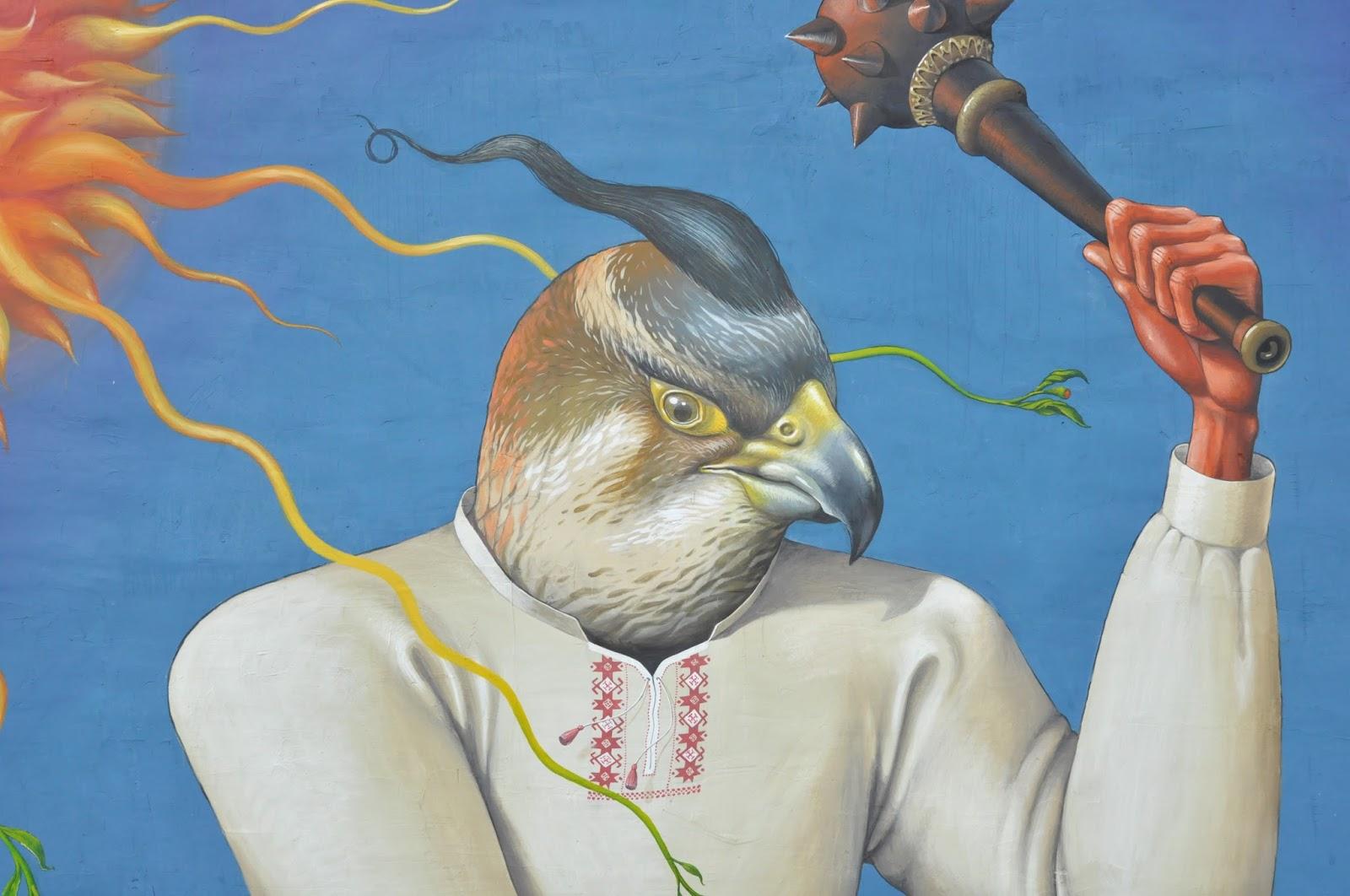 Святой Юрий граффити Interesni Kazki Большая Житомирская, 38 голова и булава