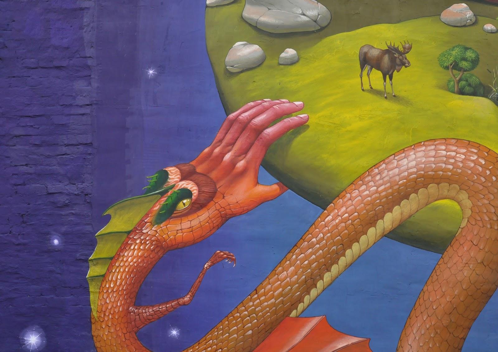 Святой Юрий граффити Interesni Kazki Aec Большая Житомирская, 38 фрагмент, крупно, лось