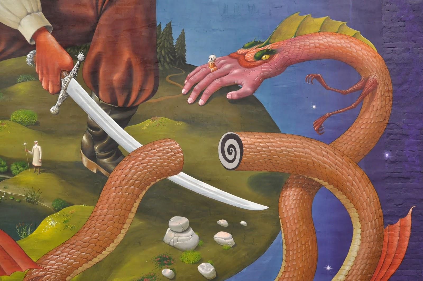 Святой Юрий граффити Interesni Kazki Aec Большая Житомирская, 38 фрагмент, рука-змея, крупно