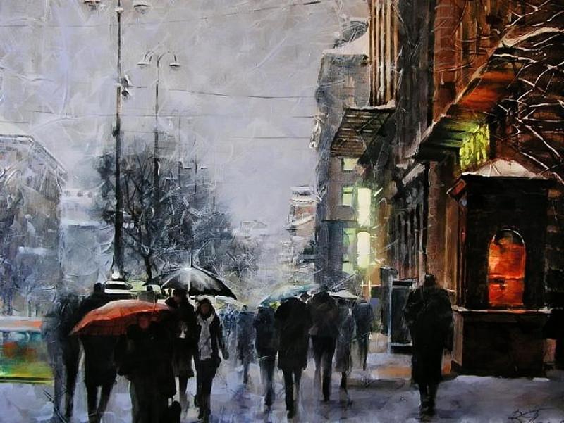 Виталий Петровский Городской пейзаж Киев дождь осень Крещатик
