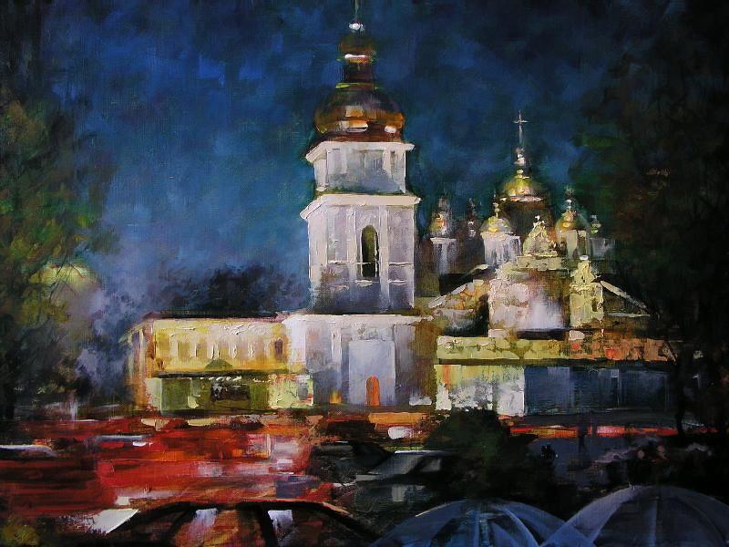 Виталий Петровский Городской пейзаж Киев дождь осень Михайловский собор