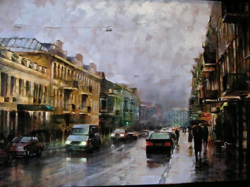 Виталий Петровский Городской пейзаж Киев дождь осень улица Сагайдачного
