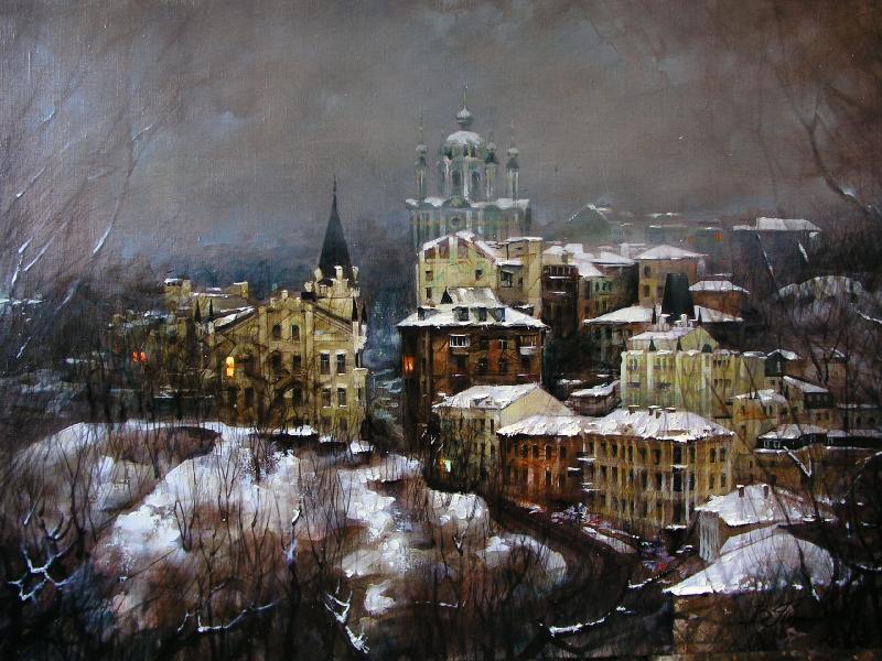 Виталий Петровский Городской пейзаж Киев зима Андреевский