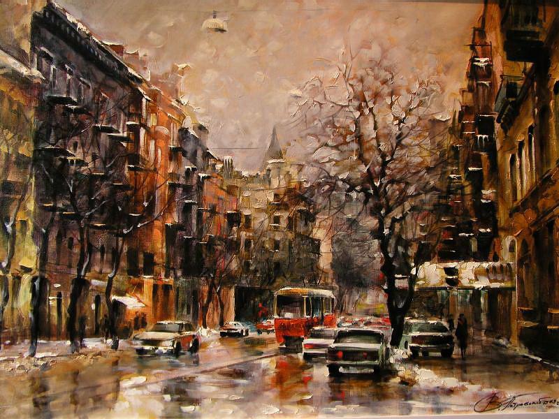 Виталий Петровский Городской пейзаж Киев зима снег