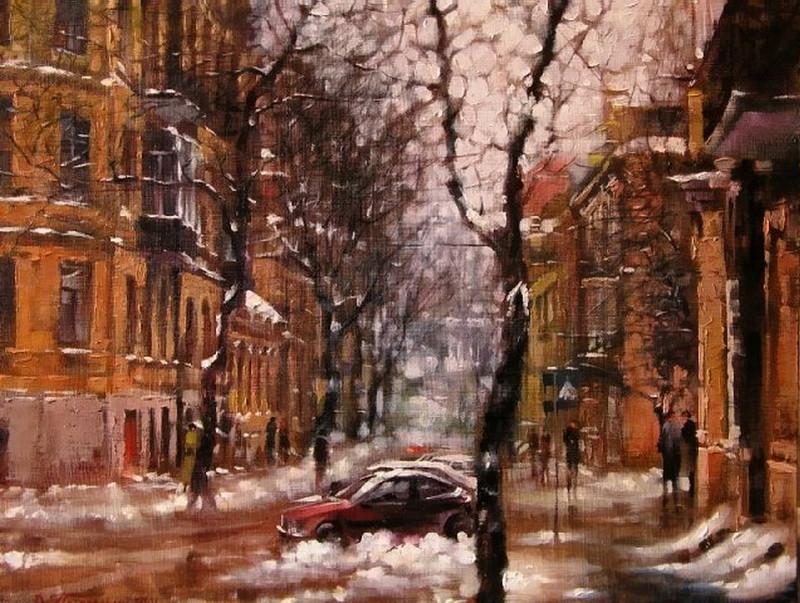 Виталий Петровский Городской пейзаж Киев зима
