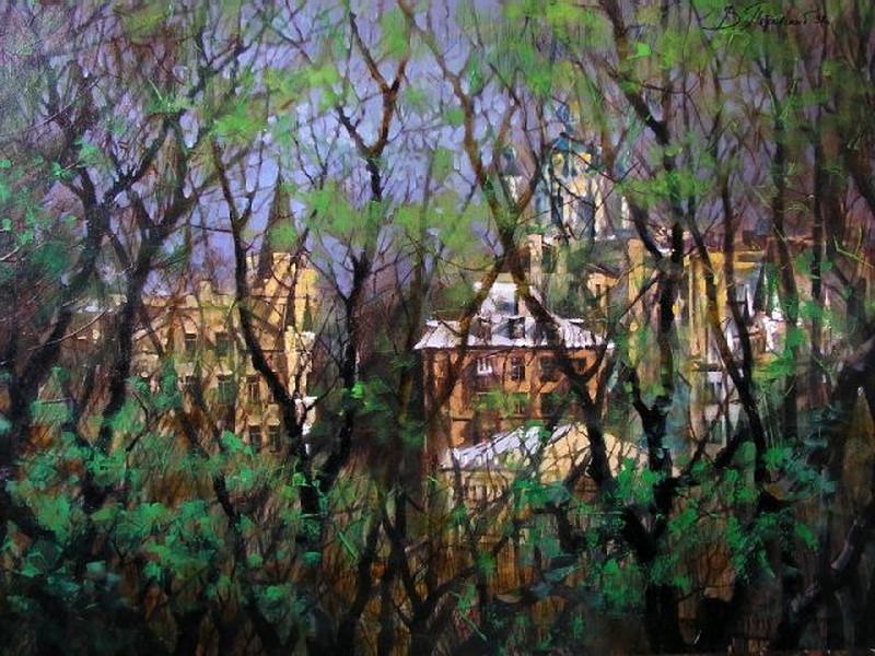 Виталий Петровский Городской пейзаж Киев лето Андреевский